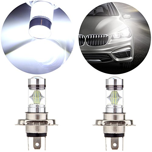 hite 6000K High Power H4 LED Light Replacement fit for Motorcycle Headlight Low Beam Light ()