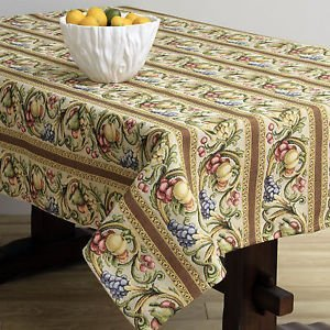 Corona Decor Fruit Design Italian Heavy Weight Tablecloth, 50 by 90-Inch, Cream (Corona Cream compare prices)