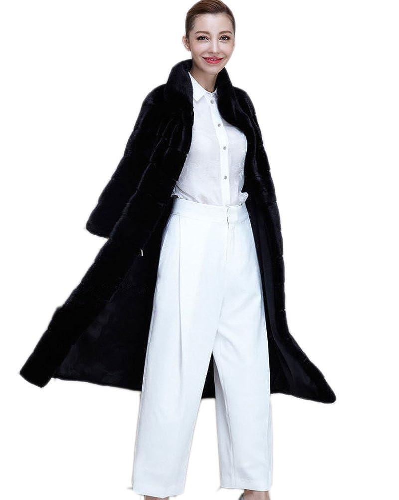 FOLOBE Women Long Style Faux Fur Hair Outwear Jacket Winter Warm Coat WP010
