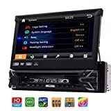 Single 1 Din Car DVD CD Player 7 inch Detachable Capacitive Touchscreen 1Din GPS Navigation Stereo Bluetooth Autoradio in Dash Head Unit FM AM RDS 1080p Video CAM-in USB SD AUX with 8GB Map & Remote