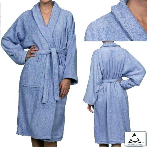 MARRIKAS Unisex X-LARGE Egyptian Cotton Quality BLUE ROBE - Marrikas Mens Robe