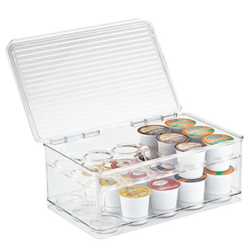 mDesign Stackable Single Serve Coffee Organizer Storage Bin Box for Kitchen Cabinets, Countertops, Pantry - 2 Levels, Hinged Lid - BPA Free, Food Safe - Container Holds 29 Coffee Pods - Clear