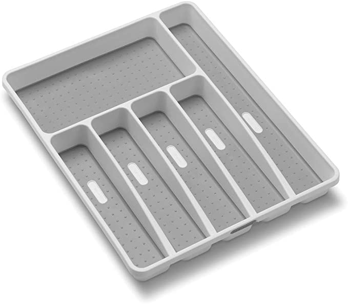 Amazon.com - madesmart Classic Large Silverware Tray - White |CLASSIC COLLECTION | 6-Compartments| Kitchen Drawer Organizer | Soft-Grip Lining and Non-Slip Rubber Feet | BPA-Free - Kitchen Drawer Organizer