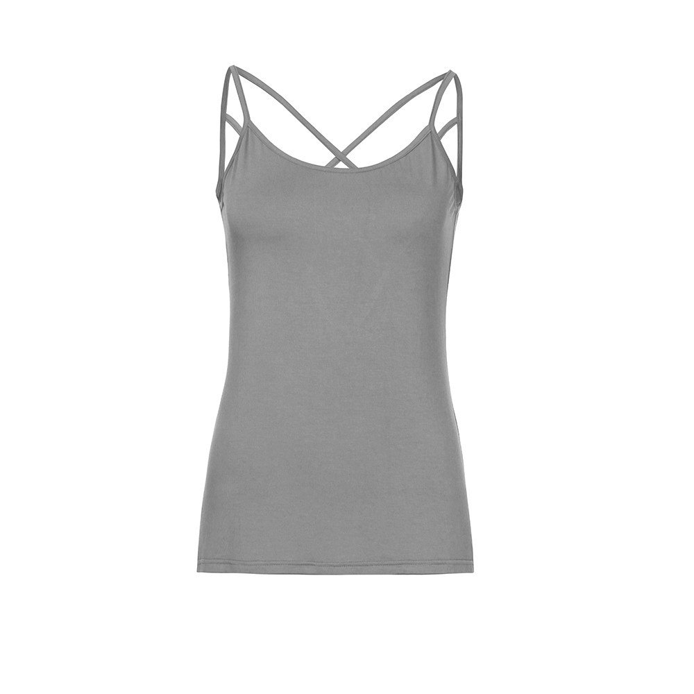 Women's Cute Criss Cross Back Tank Tops Loose Round Neck Sleeveless Backless Hollow Out Camisole Shirt Top
