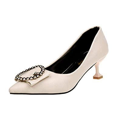 Covermason Zapatos Zapatos de tacón bajo de mujer, salón de ...