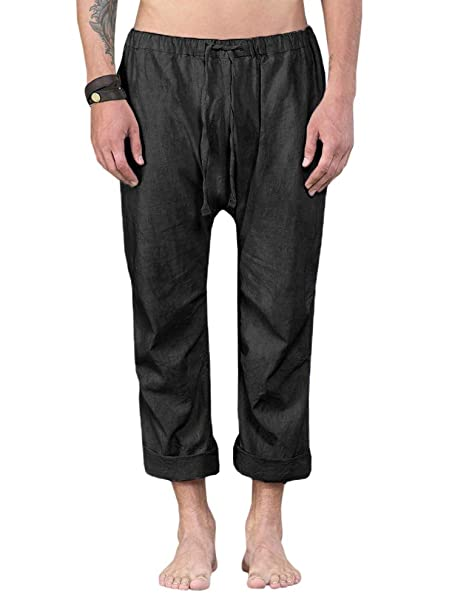 72d02a1574 Enjoybuy Mens Summer Casual Linen Long Pants Loose Fit Elastic Waist with  Drawstring Beach Pants Black