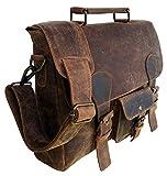 15 Inch Vintage Men's Brown Buffalo Handmade Leather Briefcase Best Laptop Messenger Bag Satchel