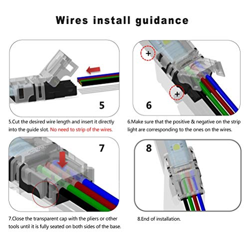 10 Pack 4 Pin LED Connector for Waterproof 10mm RGB 5050 LED Strip Lights, Strip to Wire Quick Connection Without Stripping, Include UL Listed 16.4ft 22 Gauge 4 Conductor Extension Cable by SUPERNIGHT (Image #5)