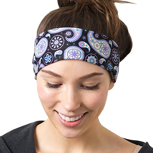 RiptGear Yoga Headbands Purple Paisley