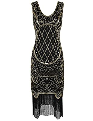 PrettyGuide Women 20s Gatsby Cocktail Baroque Sequin Fringed Flapper Dress