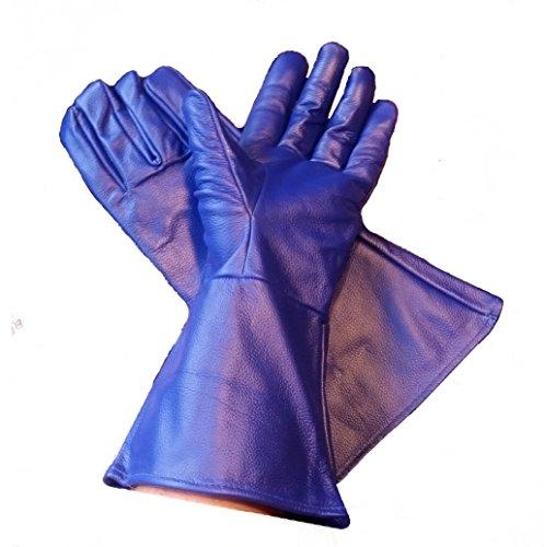 Leather Gauntlet Gloves Blue Large]()