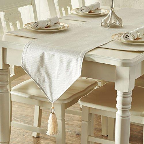 RUGAI-UE Table Runnerhigh Grade Cloth Art Table Flag Fashionable Pure Color Jacquard Cotton Fabric Simple Modern Luxury Meal Flag Natural Milk White 35×228Cm