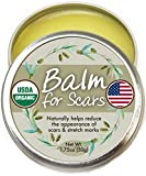 Organic Scar Fade Balm Cream - Natural, Made in USA (1.75oz Large Size) USDA Scar Treatment Gel Salve to Moisturize, Protect, Heal Skin. Surgery Scar Removal, Stretch mark, Acne