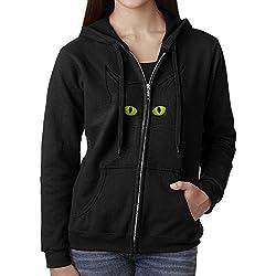 Cat Eyes Women Casual Long Sleeve Hooded Zipper Hoodies Sweatshirt Coat With Fleece Winter Windproof Zipper Jacket