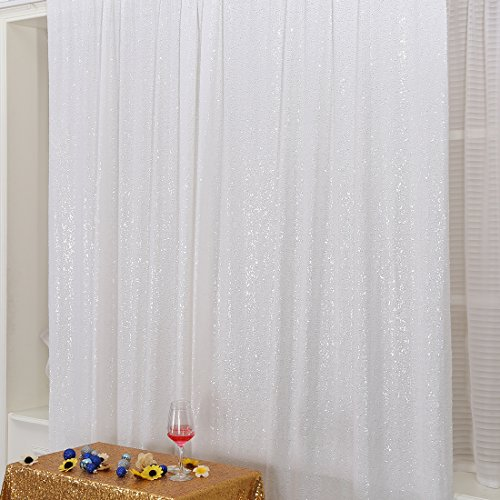 Poise3EHome 5FT x 6FT Sequin Photography Backdrop Curtain for Party Decoration, White -