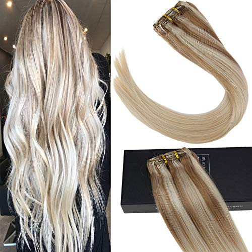 Sunny 18inch Double Weft Hair Clip in Human Hair Extensions Nordic Balayage Blonde Highlights Real Hair Extensions Clip on Extensions 7pcs 120g