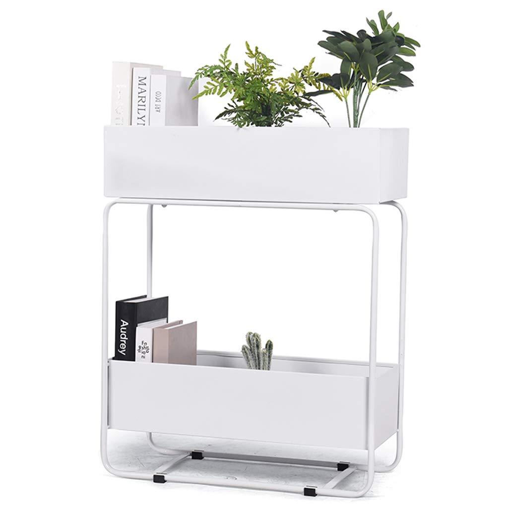 2段メタルフラワーホルダー北欧フロアスタンド植物スタンド、屋内用および屋外用ガーデンラック棚飾り(L60xW25xH90cm) B07SPWXLY2 White
