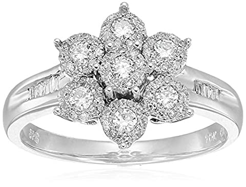 10K White Gold Cluster Flower Diamond Ring (1/2 cttw, H-I Color, I2 Clarity), Size 7 - 10k Gold Cluster Ring