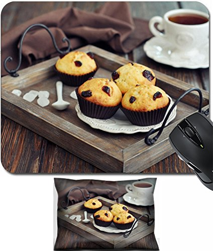 MSD Mouse Wrist Rest and Small Mousepad Set, 2pc Wrist Support design 24750077 Muffins with dried cranberry on vintage wooden tray closeup