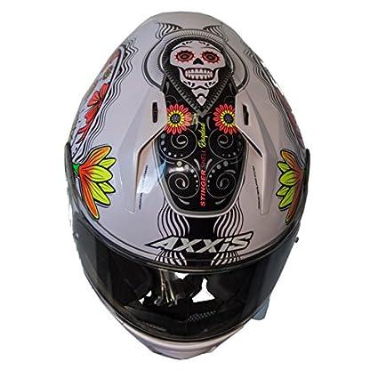 Amazon.es: Casco Axxis STINGER DAYDEAD Blanco mexican skull calaveras mexicanas calaveras mejicanas (M)