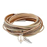 Jenia Beige Women Genuine Leather Wrap Bracelet - Casual Cuff Bangle with Feather and Pearl Pendant - for Mother's Day,Birthday Gift By