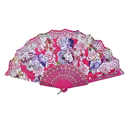 Uqiangy Party Folding Fans Plastic Small (Hot Pink)]()