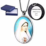 Comfybuy CF Virgin Mary Mother of Jesus Medal Dome Necklace Pendant Free Engraving Customized Personalized Prayers Church Blessed Gift For Mother,Daughter,Wife,Girlfriend