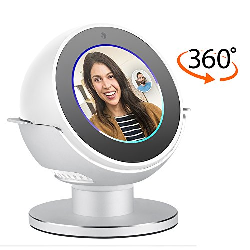Premium Stand for Echo Spot by &Colors. Convenient 360 Degree Rotation with Smooth Precision Ball Bearings. Stable & Sturdy with Non-Scratch Surface. (SILVER)