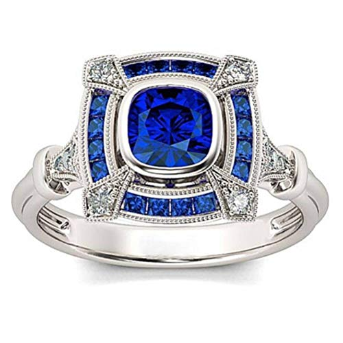 (Chuan Han Jewelry Sapphire Cutout Classic Ring Jewelry Accessories Ring, Semi-Precious Stone, Female, Channel Set Geometry, Banquet, Attend Cocktail Party Ring, Set with Gems, Royal Blue & Platinu)