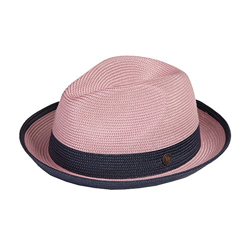 Dasmarca Mens Summer Crushable & Packable Straw Fedora Hat - Florence Blush S