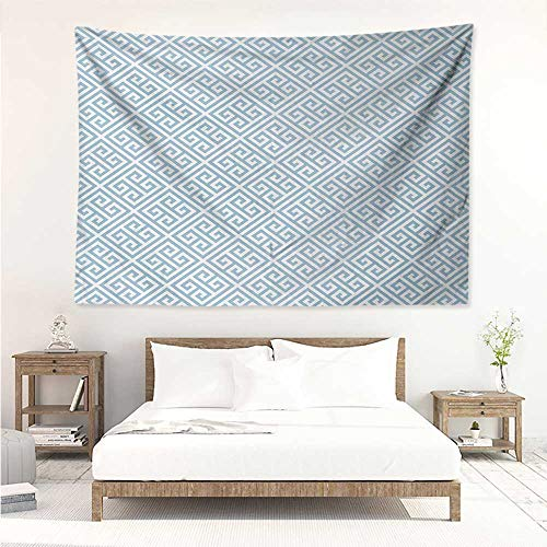 alisos Greek Key,Tapestries for Room Geometrical Maze Pattern Design with Hellenistic Origins in Pale Blue Tone 60W x 51L inch Tapestry Wall Hanging Throw Pale Blue -