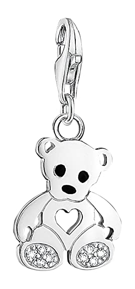 c258e5693cd Thomas Sabo Women-Charm Pendant Teddy bear Charm Club 925 Sterling Silver  Zirconia white 1119-041-14  Amazon.co.uk  Jewellery