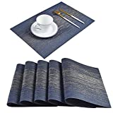 Homcomoda Woven PVC Placemats Set of 6 Washable Stain-Resistant Non Skid Natural Heat Insulation Durable Place Mats for Dinner Table Easy to Clean (Bijou Blue)