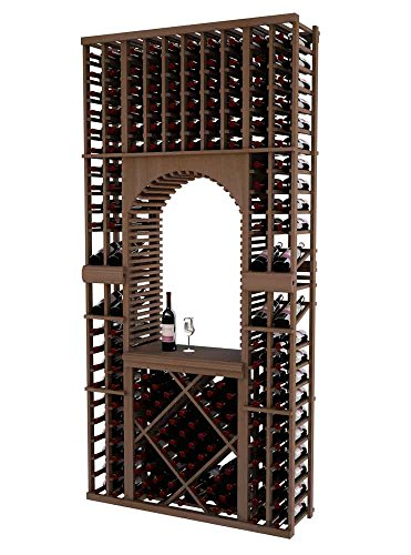 Unstained Diamond Bin (Vintner Series Wine Rack Tasting Center with Two Display Rows and Open Diamond Bin for 172 Bottles - 8 Ft - Mahogany with Unstained - Archway Option)