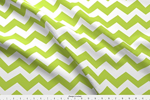 Spoonflower Green Fabric Chevron Tender Shoots Green by Friztin Printed on Minky Fabric by The Yard -