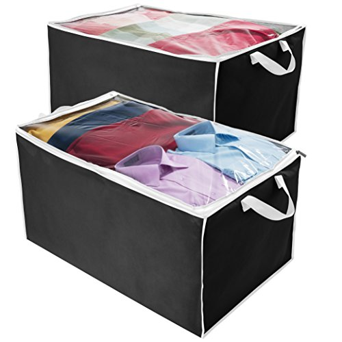 (Large Comforter/Blanket Storage Bins - Set of 2 - Foldable Storage Bag Closet Organizer, Clear Window, Durable Zipper & Carry Handles, Storage Container for Quilts, Bedding, Linen & Seasonal Clothing)
