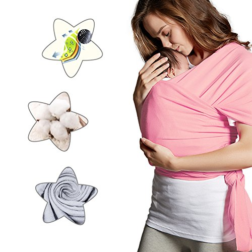 Pink Baby Sling (Anjojo Breathable Natural Cotton Breastfeeding Cover Baby Slings and Wraps for Newborns Toddlers--Baby Sling Carrier Soft Safe and Comfortable--Best Baby Shower Gift (Pink))