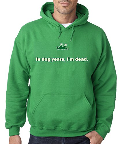 (Bright Teez 051 - Adult Hoodie In Dog Years I'm Dead Old Timer Unisex Pullover Sweatshirt 2XL Kelly Green)