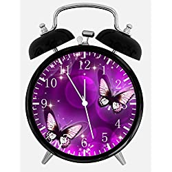 New Purple Butterfly Alarm Desk Clock 3.75 Room Decor E25 Will Be a Nice Gift