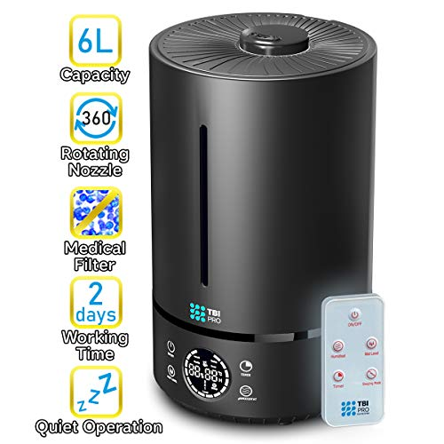 Upgraded 2020 Top-Fill 6L Cool Mist Large Humidifier for Home - 360° Humidifiers for Large Room