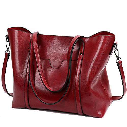 FiveloveTwo Ladies All-match Top-Handle Bags Crossbody Hobo Shoulder Satchel Tote Bags Shopper Clutch Handbags Purse for Women Burgundy