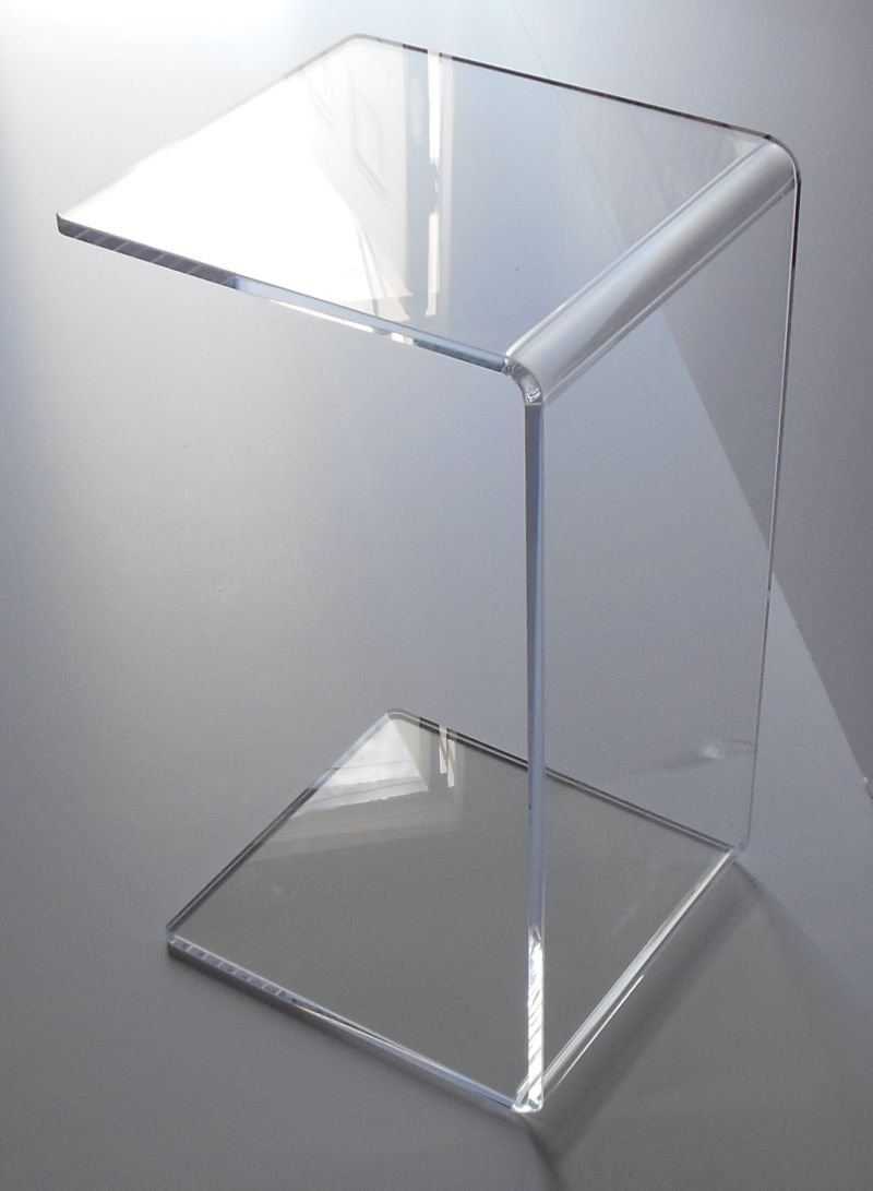 Acrylic End Side ''Slide'' Table 23'' high x 14 long x 12 deep x 1/2'' thick