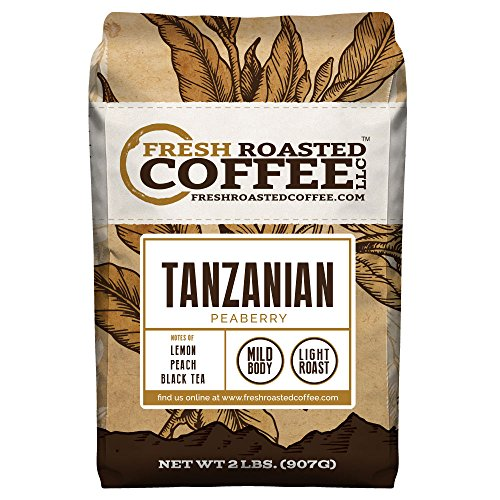 Tanzanian Peaberry Coffee, Whole Bean Bag, Fresh Roasted Coffee LLC. (2 LB.)