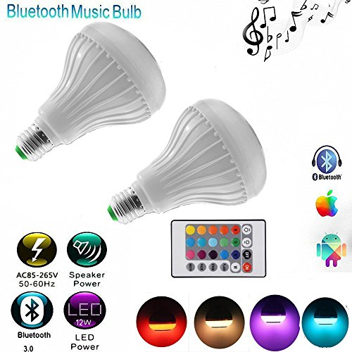 Wireless 12W Power E27 LED rgb Bluetooth Speaker Bulb Light Lamp - 6