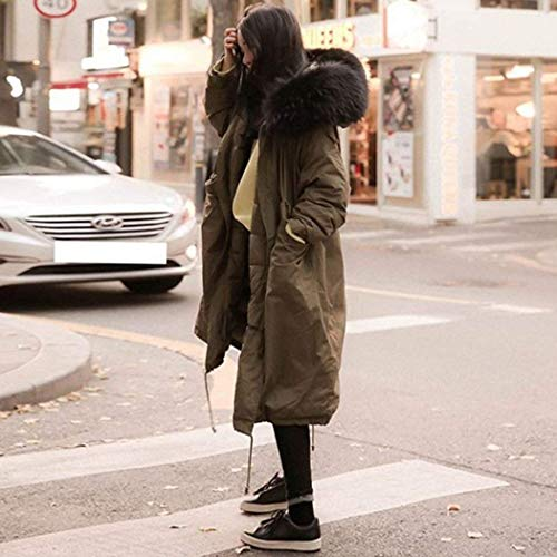 Mujer con Modernas Invierno con Delanteros Chaqueta Armygreen Cordón Parkas Capucha Bolsillos Color Moda Cómodo con Chaqueta Acolchada Abrigo Cremallera Sólido 5PpOxpWz