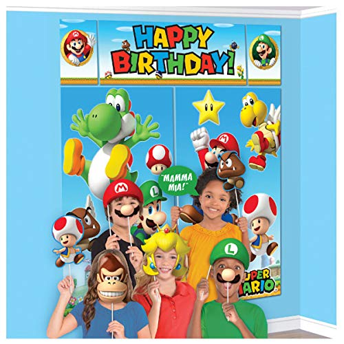 Super Mario Happy Birthday Giant Scene Setters Wall Decorating Kit Party Backdrop, 5 Pieces, Made from Vinyl, Multicolor, 59