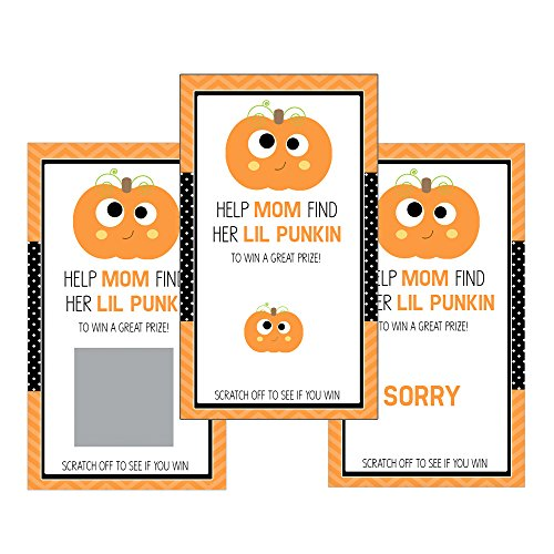 Set of 12 Scratch Off Game Cards for Baby Shower Games with Halloween Little Pumpkin (Halloween Raffle Time)