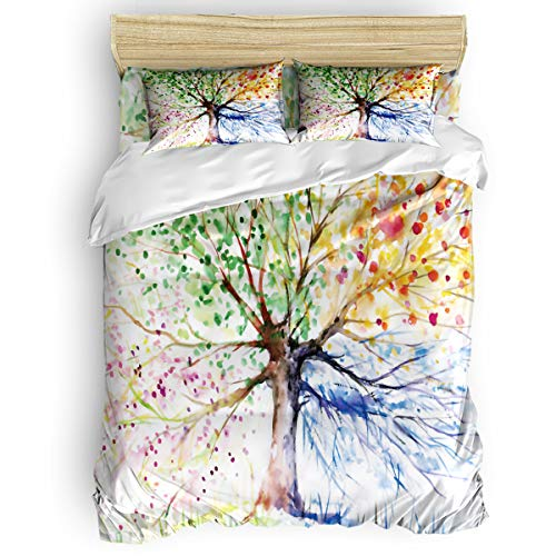 California King Size Bedding Sets - Colorful Tree of Life Nature Watercolor Duvet Cover Set Bedspread for Childrens/Kids/Teens/Adults, 4 Piece Bed Sheet Set 50% Cotton+50% Polyester (Designer Printed Cotton)