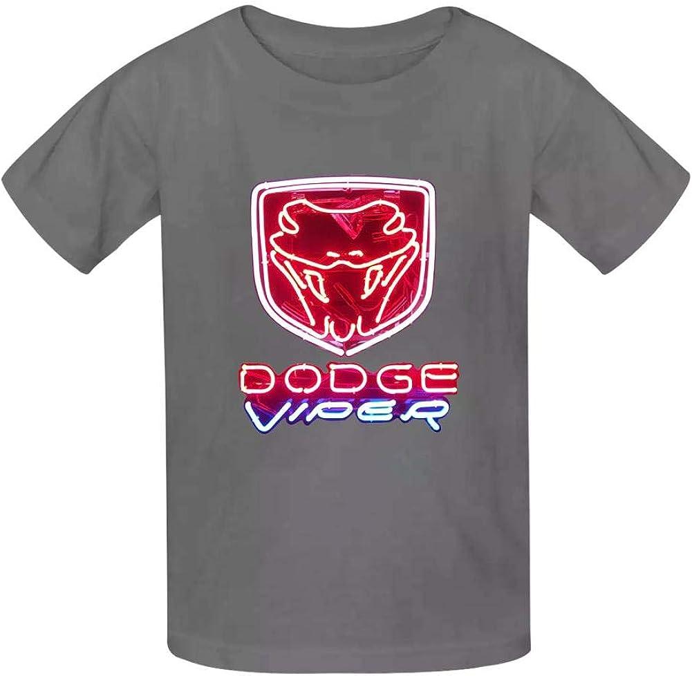 Yshoqq Kids//Youth T-Shirt Do-d-ge VIP-er Chry-sler Neon Logo Casual Short Sleeve Tees