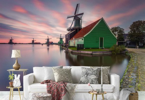 Photo wallpaper wall mural - Windmills Houses Lake - Theme Travel & Maps - XL - 12ft x 8ft 4in (WxH) - 4 Pieces - Printed on 130gsm Non-Woven Paper - 1X-1182443V8 by Fotowalls Photo Wallpaper Murals
